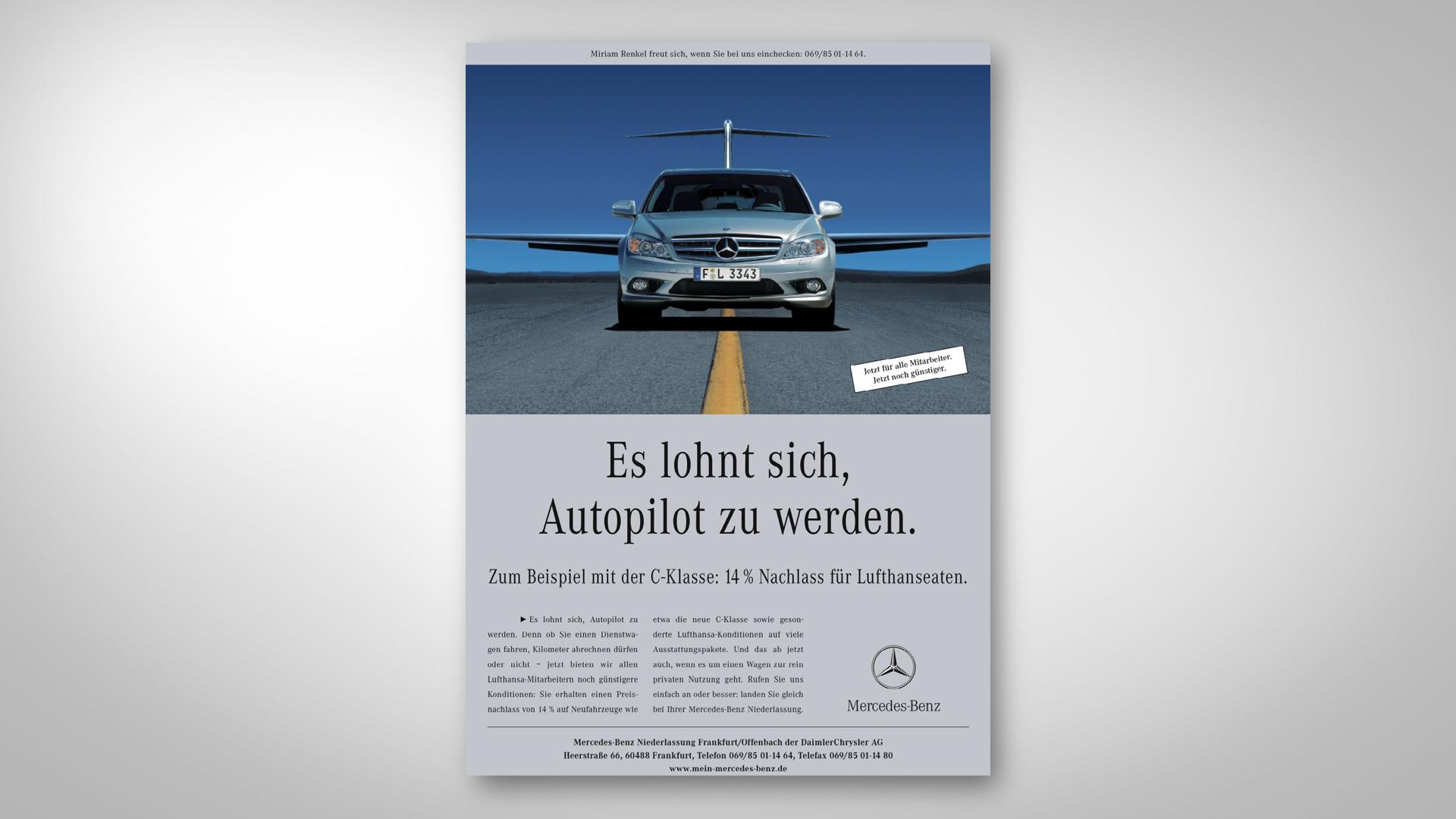 Mercedes-Benz Lufthansa-Anzeige